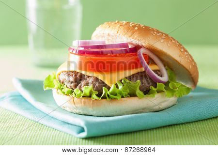 cheeseburger with beef patty cheese lettuce onion tomato