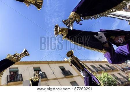 Penitents Playing Trumpets During Holy Week In The Good Friday Procession, Take In Linares, Jaen Pro