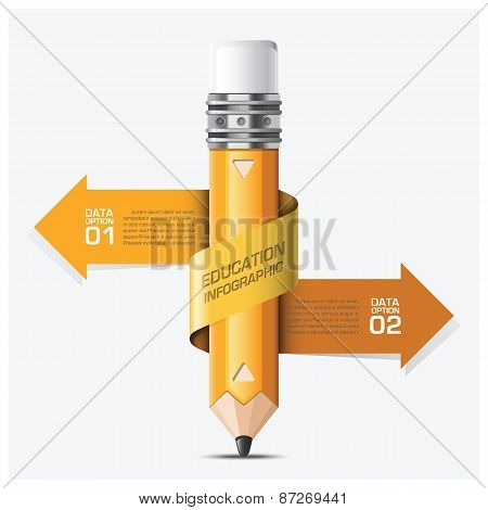 Education And Learning With Spiral Arrow Pencil Step Infographic