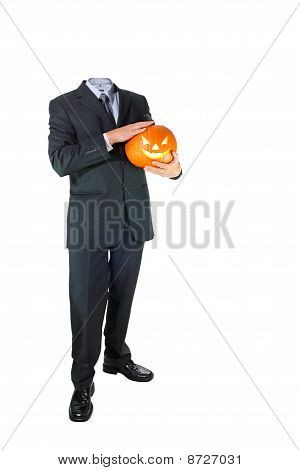 Headless Businessman with Halloween Pumpkin
