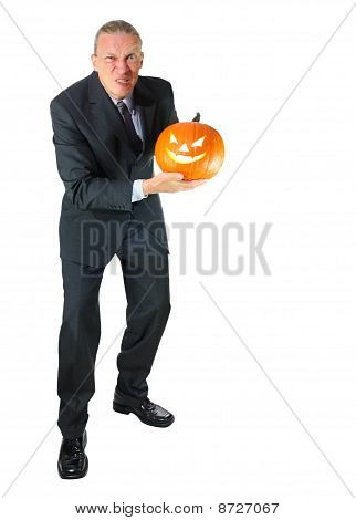 Angry Business-Man with Halloween Pumpkin
