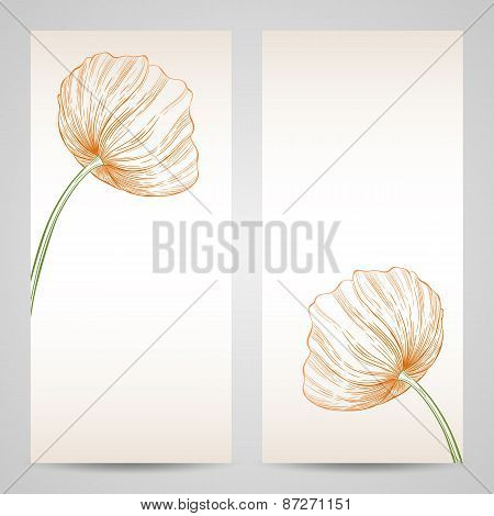 Vector Set Of Invitation Card With Poppies.