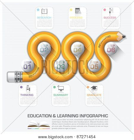 Education And Learning Step Infographic With Curve Pencil Diagram