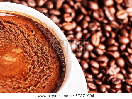 Coffee Cup With Roasted Coffee Beans May Use As Background