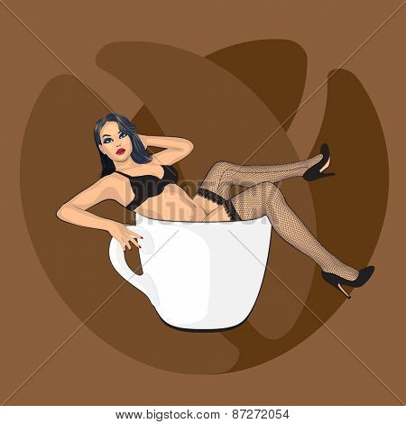coffee cup with sexy girl in stocking and beans background