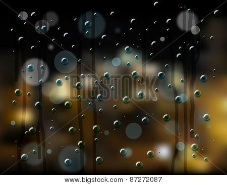 rain drops on glass with blurry background night city view