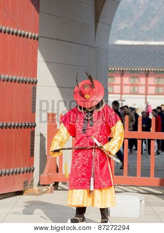Korean  Male In Ancient Soldier  Costume Vertical