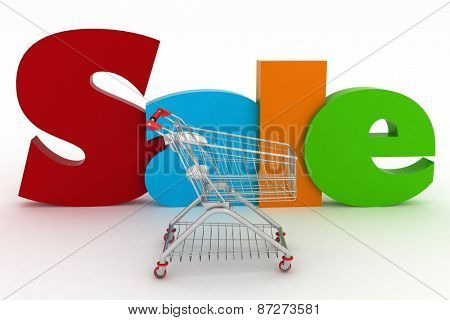 3d render shopping cart and text