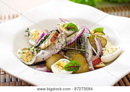 Herring salad, apples and eggs