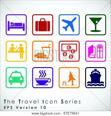 Travel And Tourism Icon Set.