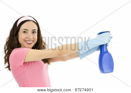 Woman Cleaning With Spray Bottle