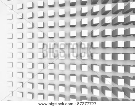 Background With Cubes Pattern On White Wall, 3D Illustration