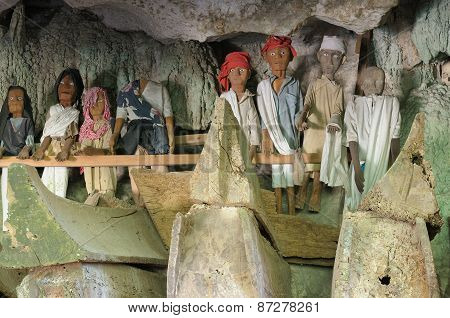 Ancient Tombs In Cave Guarded By Puppets