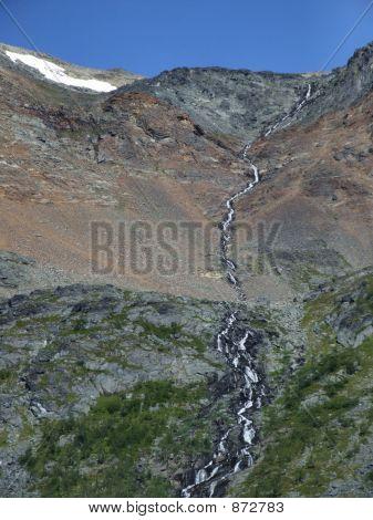 Beautiful Mountain Stream Among Rocks