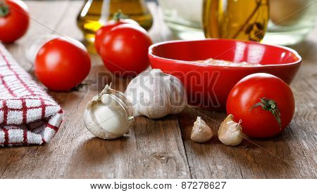Still Life With Tomatoes And Garlic Sauce