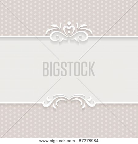 Paper background, frame with ornamental seamless borders