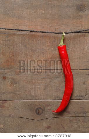 Chili Pepper Hanging On Rope