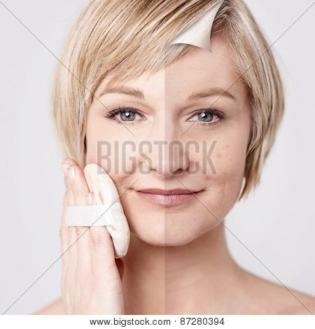 Woman's Face Before And After Makeup