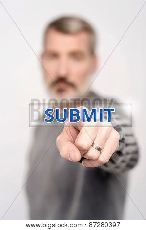 Man Pressing Virtual Submit Button