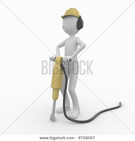 3D Man With Pick Hammer
