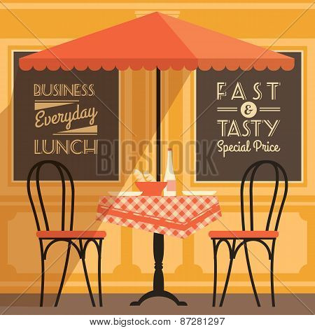 Vector Modern Flat Design Illustration Of Street Cafe.