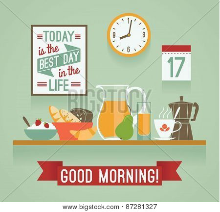 Vector Modern Flat Design Illustration Of Breakfast. Good Morning Mood.