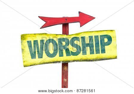 Worship sign isolated on white