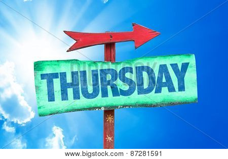 Thursday sign with sky background