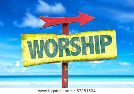 Worship sign with beach background