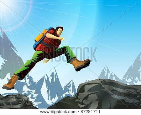 Man With Backpack Jump In Mountains