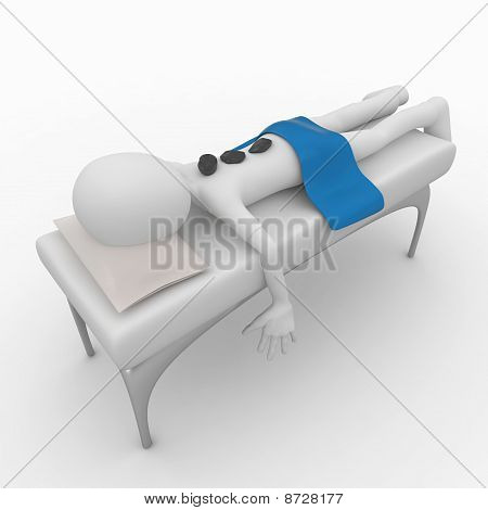3D Man Relaxing At Spa