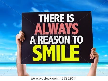 There Is Always a Reason to Smile card with beach background