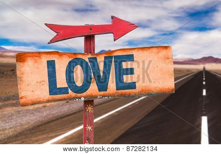 Love sign with road background