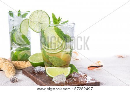 Fresh mojito drink on beach