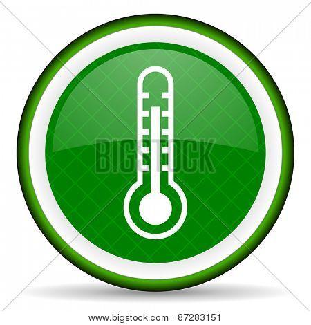 thermometer green icon temperature sign