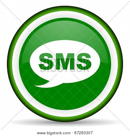 sms green icon message sign