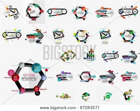 Vector flat linear concept infographic set. Modern paper design