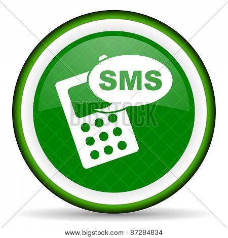 sms green icon phone sign