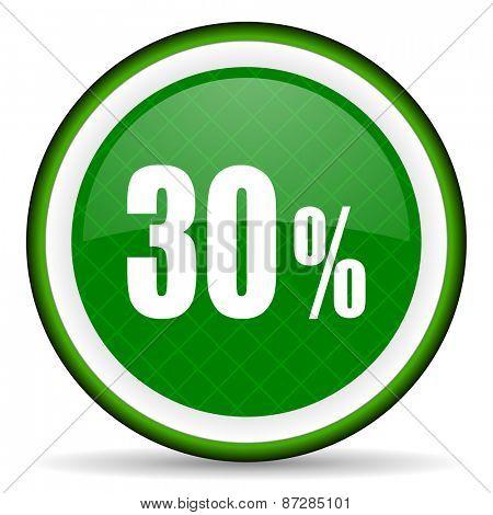 30 percent green icon sale sign