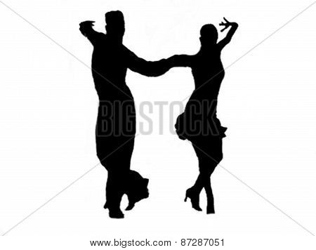 Latin Couple Silhouette Dancers