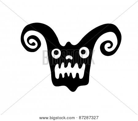black monster head in native style, vector illustration
