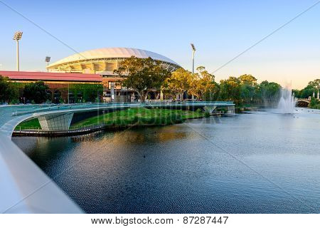 Adelaide Oval And River Torrens Foot Bridge