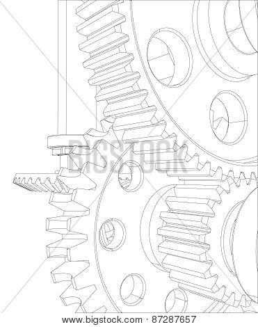 Reducer consisting of gears, bearings and shafts. Close-up. Vector