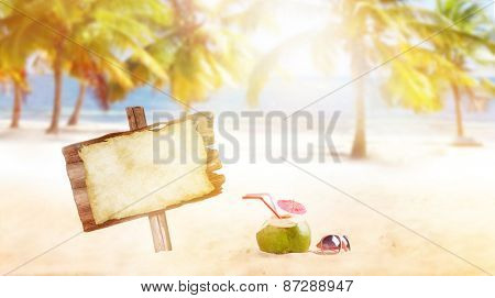 summer coconut drink on the beach with palm trees.