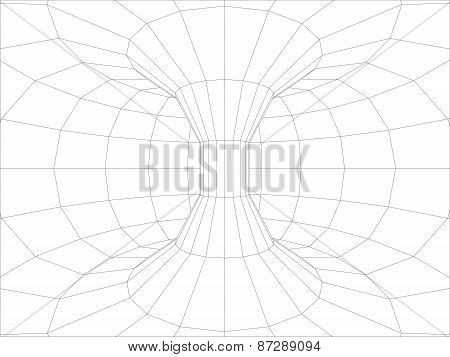 Wire-frame wall inside torus. Vector