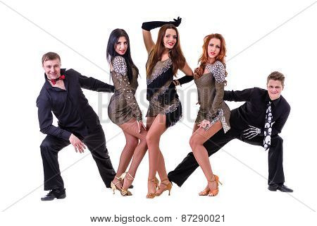 Disco dancer team dancing.  Isolated on white