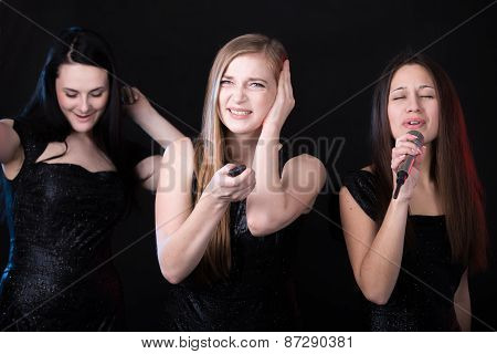 Three Beautiful Girls In Karaoke
