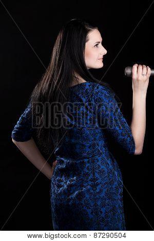 Profile Of Singer Girl In Blue Dress