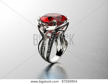 Golden Engagement Ring with garnet. Jewelry background
