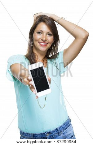 young happy woman isolated